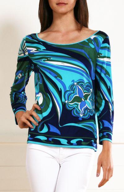 Cheap 2018 New Emilio Pucci Woman Printed Cotton And Silk-blend Slub-jersey Top Sky Blue Size 42 Emilio Pucci Best Price YHvqE9drw