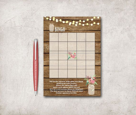 Bridal Shower Games Printable Rustic Bridal Shower by tranquillina