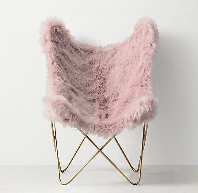 Pink Faux Fur Aged Brass Butterfly Chair Decor