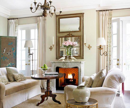 72 best magnificent mantels images on pinterest - Cozy elegant living rooms ...