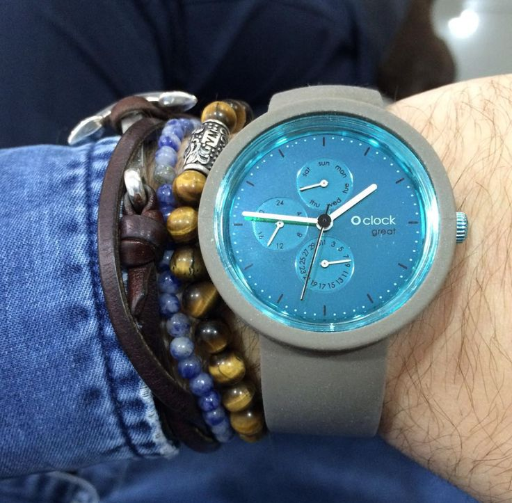O clock great Teal Day/Date Display Dial and Grey Strap