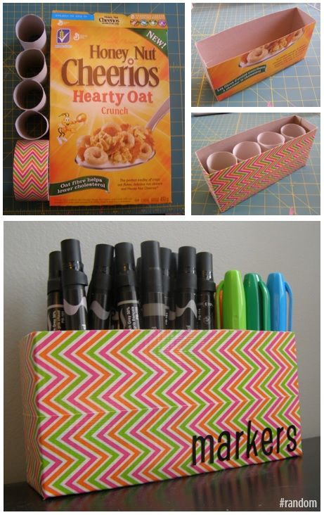 Decorative duct tape, cereal box and toilet paper rolls to MacGyver a markers holder #DIY #fun