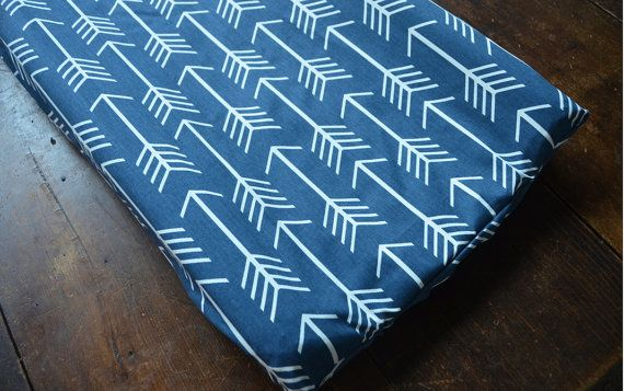 Navy Arrow changing pad cover arrow crib set boy by LavenderLinens