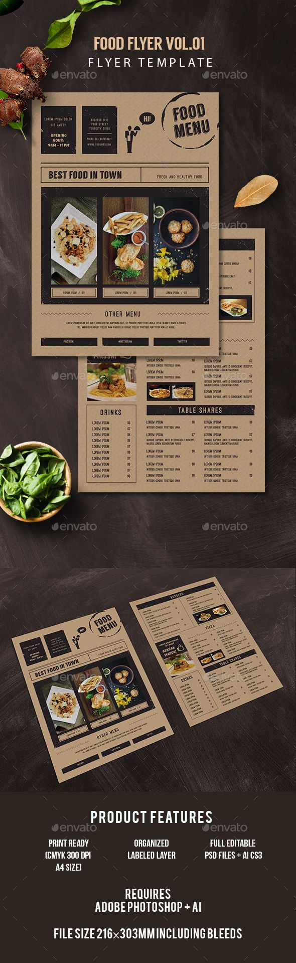 Food Flyer - Restaurant #Flyers Download here: https://graphicriver.net/item/food-flyer/17322511?ref=alena994