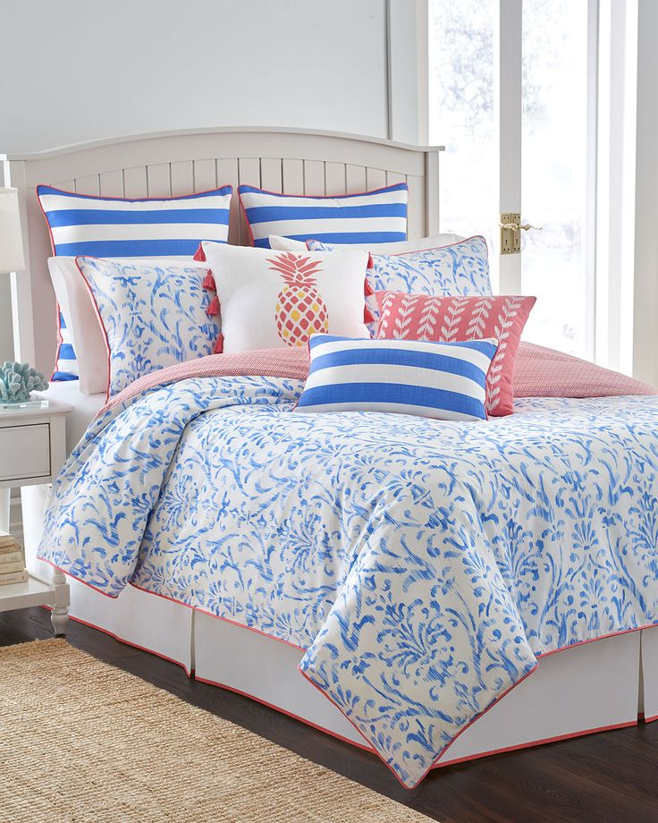 Twin coastal ikat 3 piece comforter set cool water blue for Southern tide bedding