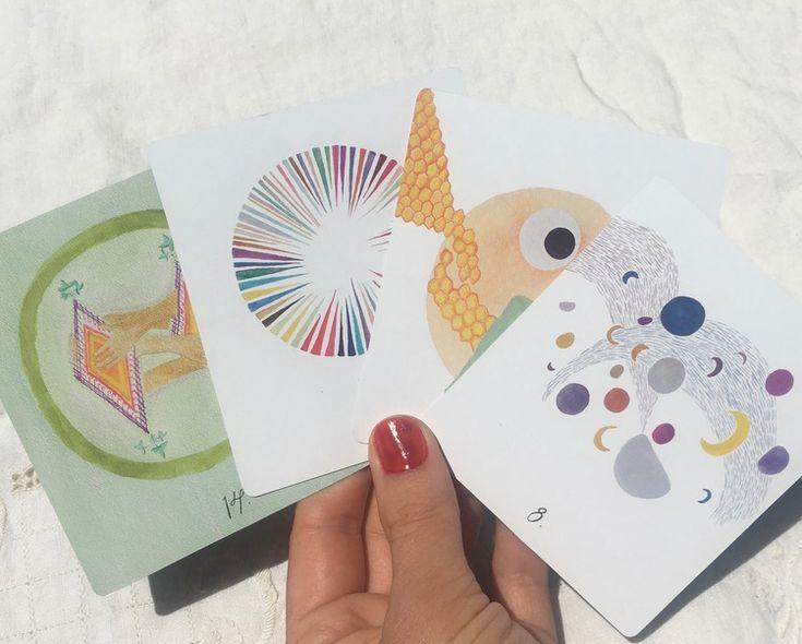 Moon Angels getting some sun  oracle deck // tarot //  queer // feminist // art // rebekah erev studio // handmade