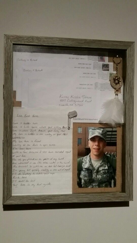 Shadow box for boot camp letters
