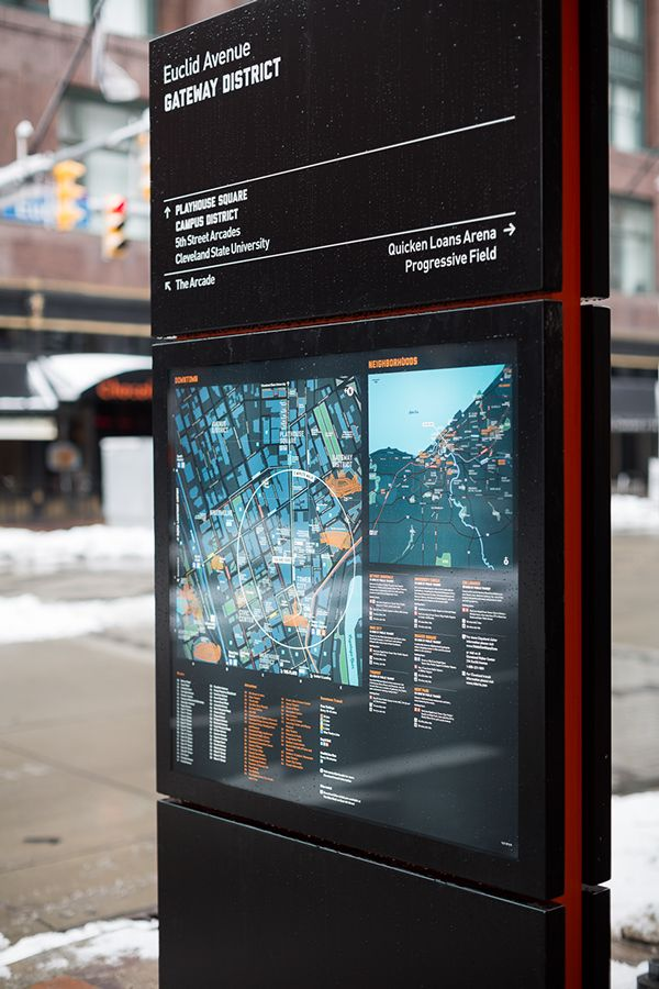 """Seamless Cleveland on Behance.   """"As part of an unprecedented $2 billion investment dedicated to revitalizing the city's tourism and travel infrastructure, Applied was commissioned to prepare a wayfinding masterplan, with the aim of providing an outline of how wayfinding could be used to encourage more visitors to Cleveland and increase walking and public transportation use amongst its residents.""""  An example of: Communication, Navigation, Explanation"""