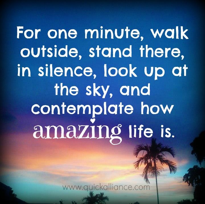 "Life Amazing: ""For One Minute, Walk Outside, Stand There, In Silence"