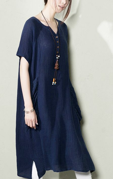 Navy linen sundress top quality summer dresses plus size shirt blouse top