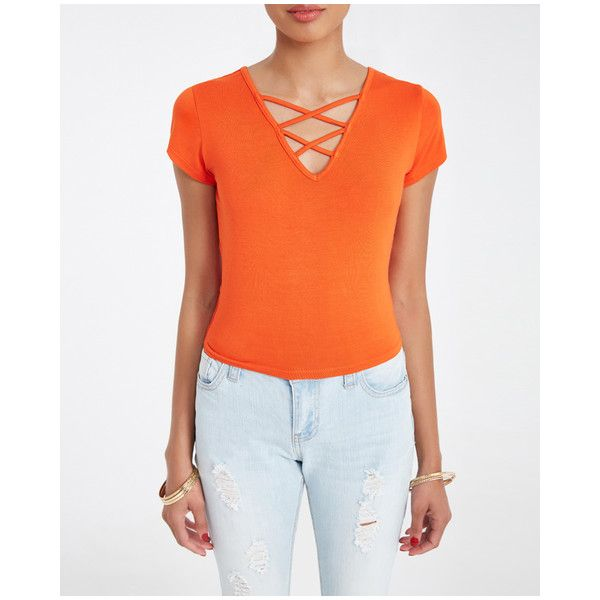 Strappy Front Crop Top ($13) ❤ liked on Polyvore featuring tops, knit top, strappy top, orange crop top, stretch crop top and knit crop top