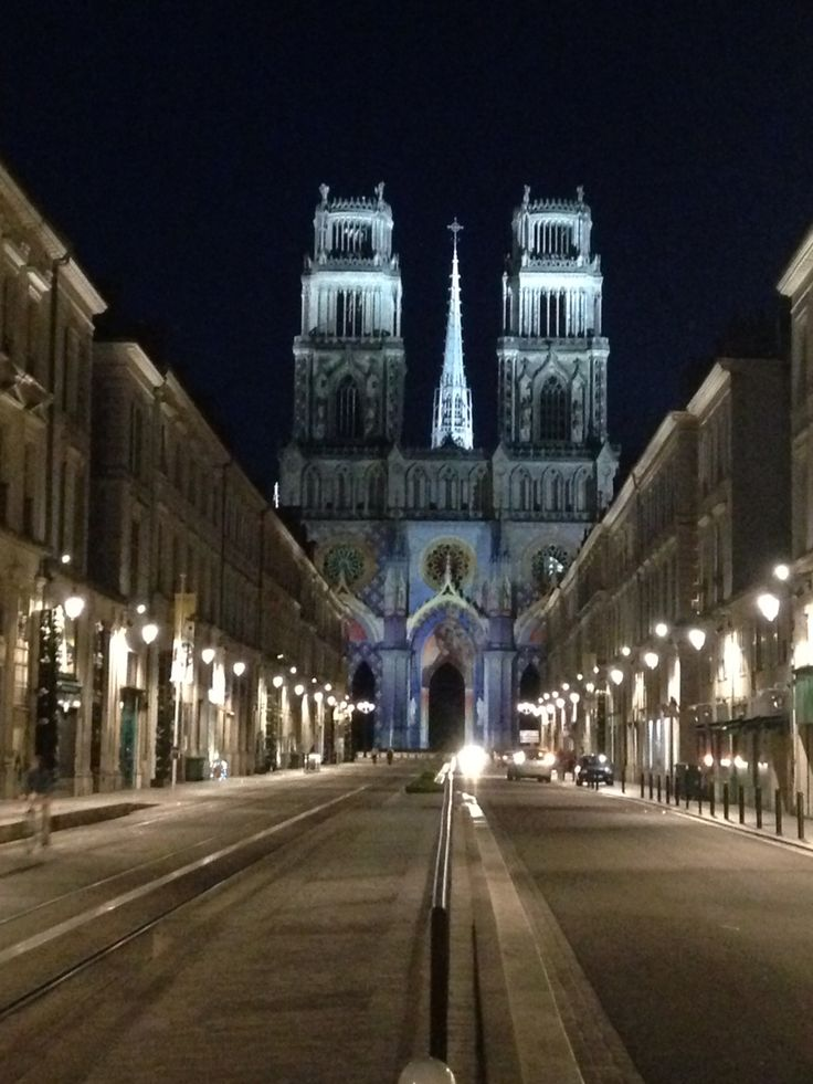 Old Town of Orleans, France. Cathédrale Sainte-Croix d'Orléans of the night