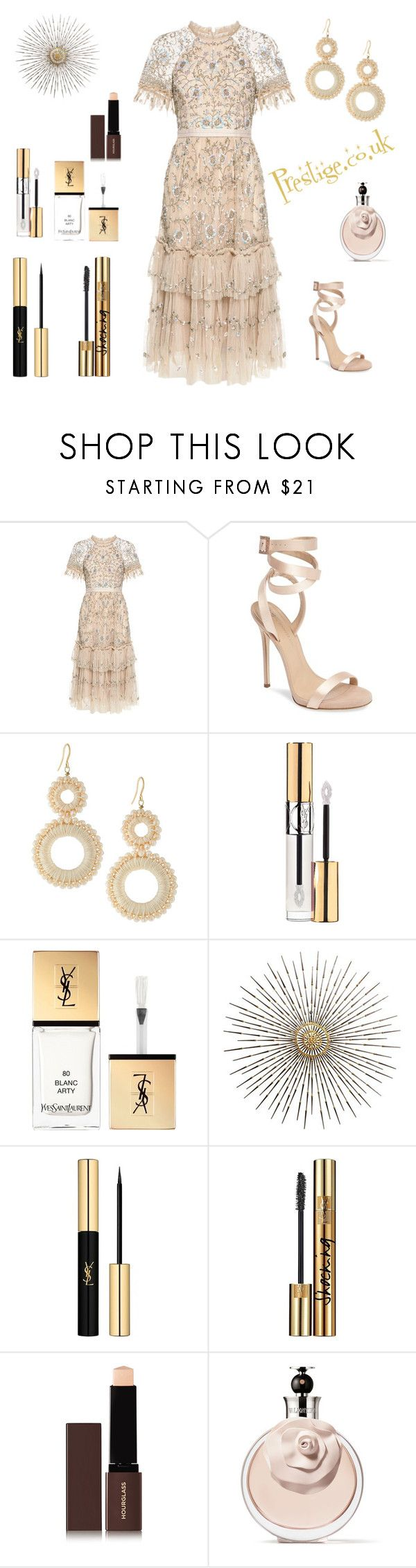 """Prestige.co.uk"" by zainabswaidan ❤ liked on Polyvore featuring beauty, Needle & Thread, Giuseppe Zanotti, Lydell NYC, Yves Saint Laurent, Hourglass Cosmetics and Valentino"