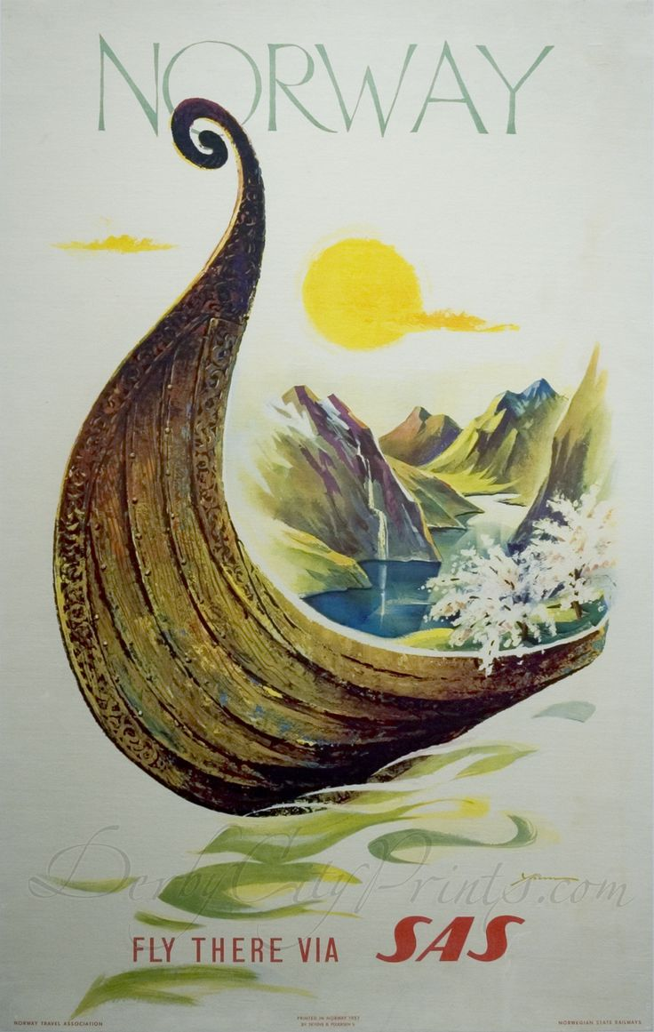 Vintage Travel Poster - Norway - 1960 - (SAS).