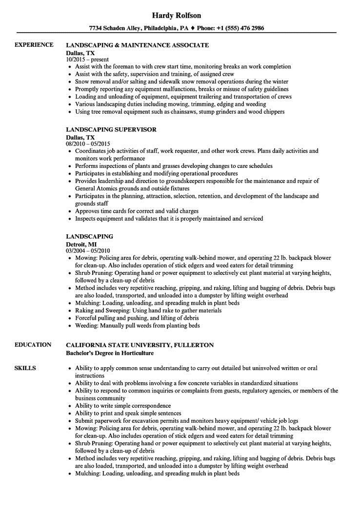 Resume Examples Landscaping resume examples office Resume