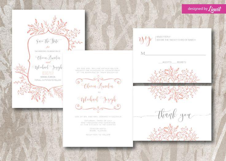 floral wedding invitation-Digital wedding invitation-Printable wedding invitation set-Custom wedding invitation-spring wedding by Linvit on Etsy