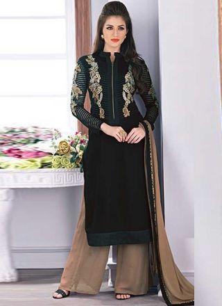 Sensational Black Khatli Work Embroidery georgette Festival Wear Pakistani Salwar