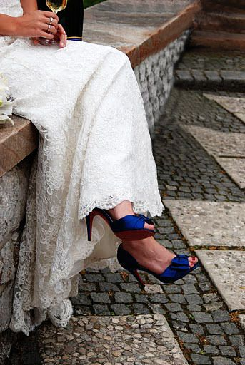 like the idea of wearing bright shoes with the wedding dress