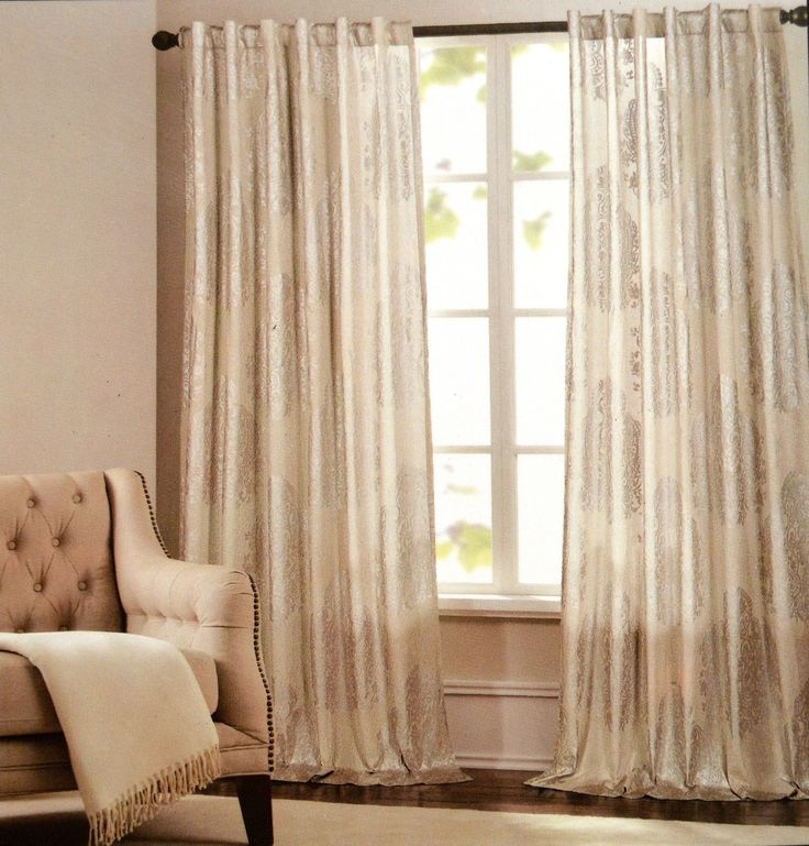 Nicole Miller Medallion Pair Of Curtains Window Panels In Beige And Silver Damask
