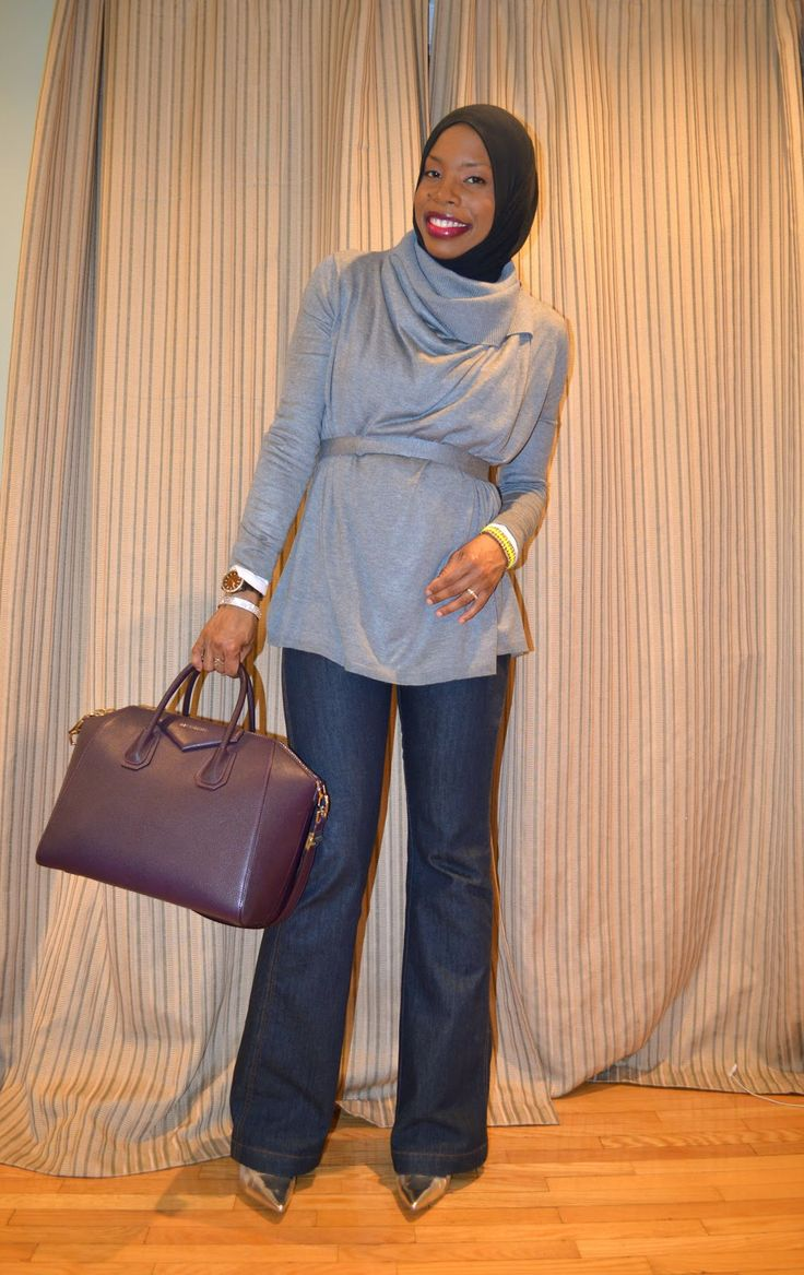 Casual Winter Wear: Grey and Silver and hijab with cowl neck sweater