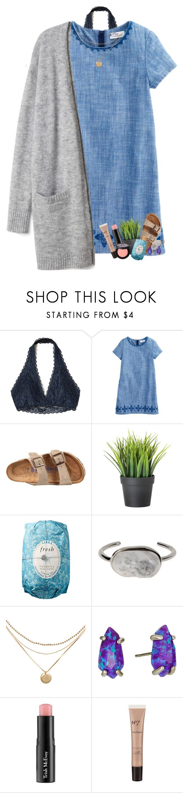 """""""The voices in my head are fighting"""" by livnewell ❤ liked on Polyvore featuring Hollister Co., Birkenstock, Fresh, Balenciaga, Kendra Scott, Trish McEvoy, Boots No7 and Too Faced Cosmetics"""