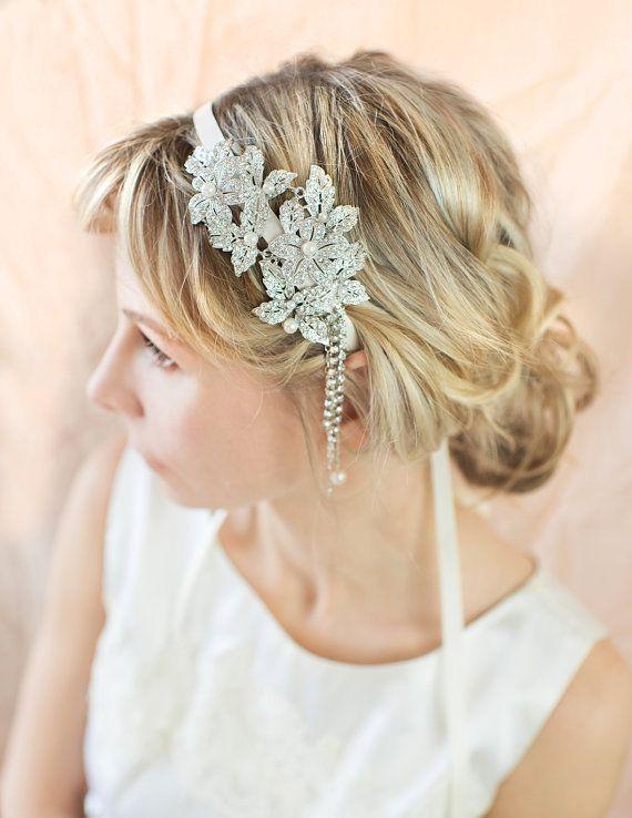 Vintage Style Bridal Hairband, Gatsby 1920s Pearl Hairband, Bridal Crystal Headpiece, Deco Flapper Headband, Wedding Hairband - 'MILA'
