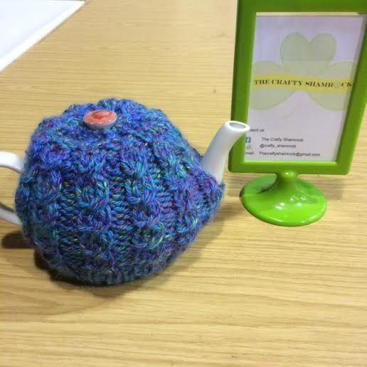 Irish Celtic Hand Knit Tea Cosy, CraftyIrelandTeam,  Lavender Blue Green Tweed Easy Fit, pop on no ties of buttons, by TheCraftyShamrock on Etsy
