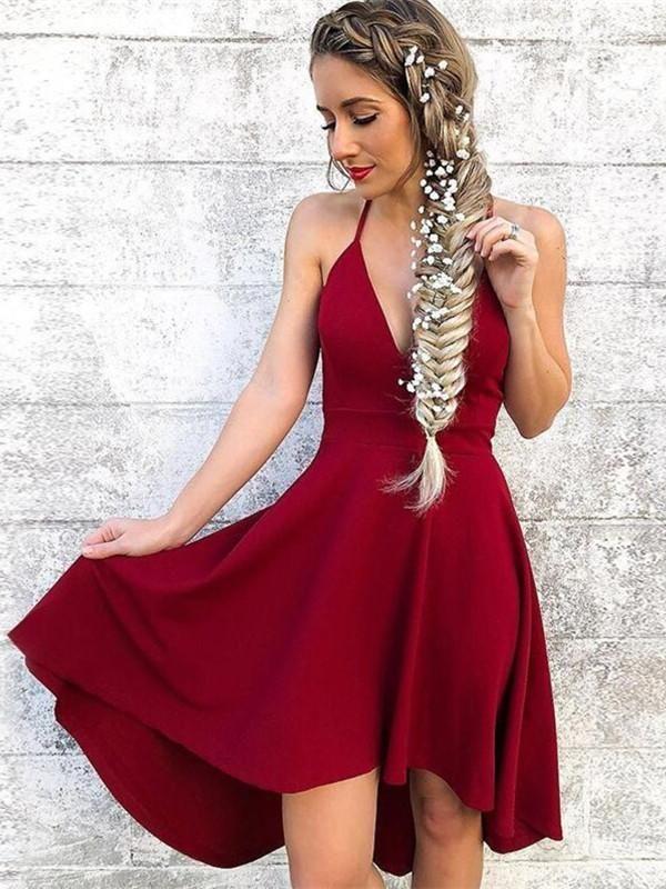 07e22e4efa0 Cute A Line Halter Neck Burgundy Short Prom Dresses