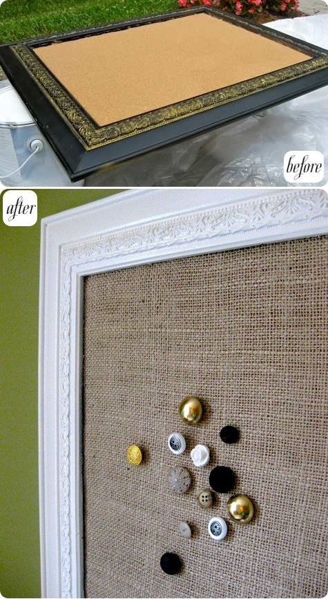 frame makeover. after repainting the frame and adding a cork layer to the frame's back, leila added a burlap cover and created her own vintage button thumbtacks (tutorial here!) to create a truly custom corkboard