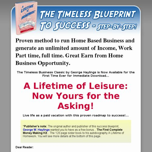 A Lifetime Homework eBook on Home Based Business Ideas by George Haylings