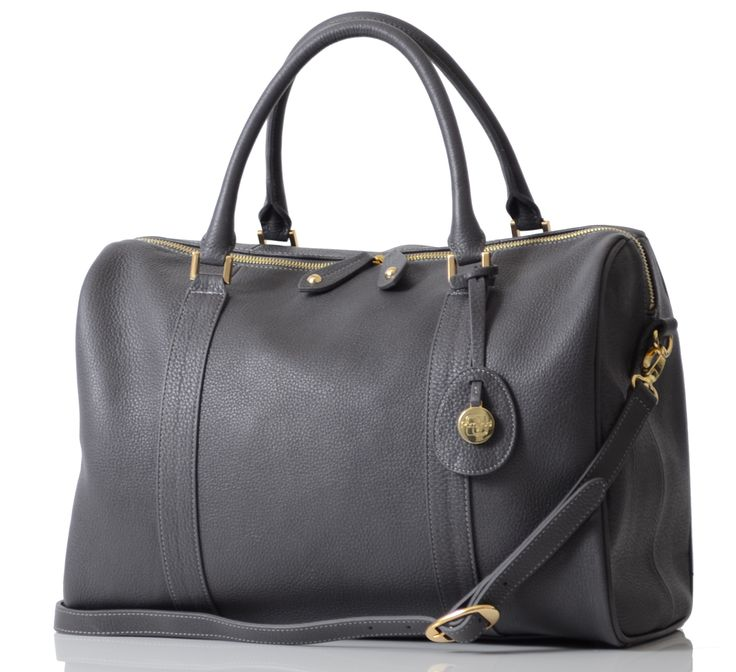 Firenze in pewter, the luxury diaper bag in beautiful leather satchel style.  Cleverly hidden inside a cool bag and diaper bag, everything you need for your baby