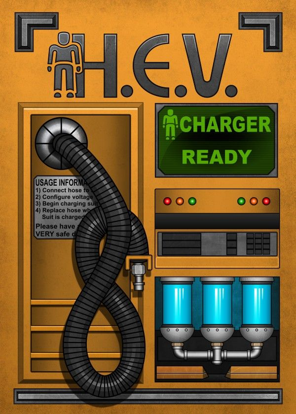 HEV Charger by Remus Brailoiu | https://displate.com/displate/261055 | hev charger, half life, gordon freeman, graphic design, posters | #halflife #halflife2 #hl #hl2 #hevsuit #hevcharger #valve #gaming #videogame # gamer #fps #graphicdesign #posters