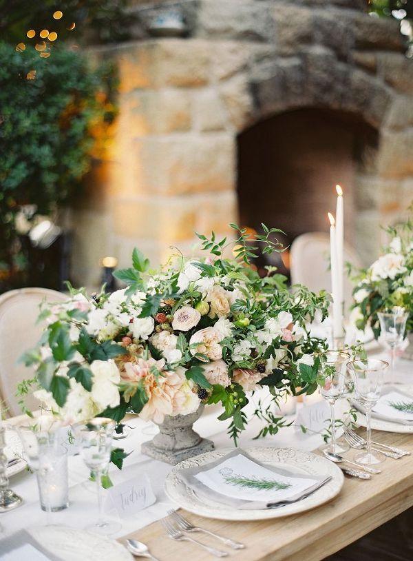 Lush Neutral Centerpiece | Kurt Boomer Photography | Naturally Elegant Barn Wedding in Peach and Green