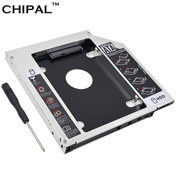 """CHIPAL Aluminum Alloy SATA To IDE 2nd HDD Caddy 12.7mm For 2.5"""" SATA 3.0 SSD HDD Case Enclosure For Notebook DVD ROM Optical Bay"""