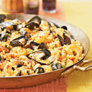 Want to try.... Healthy Paella...just omit the Spanish chorizo or subsitiute it with turkey/chicken sausage. I triple the amount of saffron for color/flavor.