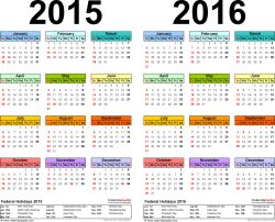 Template 2: Word template for two year calendar 2015/2016 (landscape orientation, 1 page, in color)