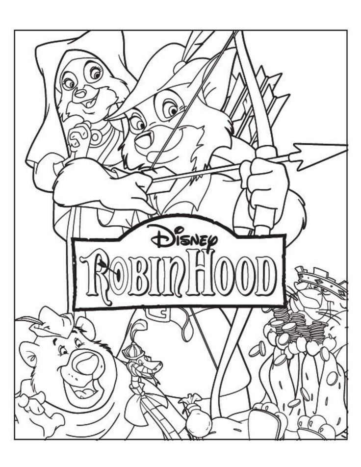 Robin Hood Coloring Page   Robin Hood Movie Night   Disney Movie Night    Family Movie Night