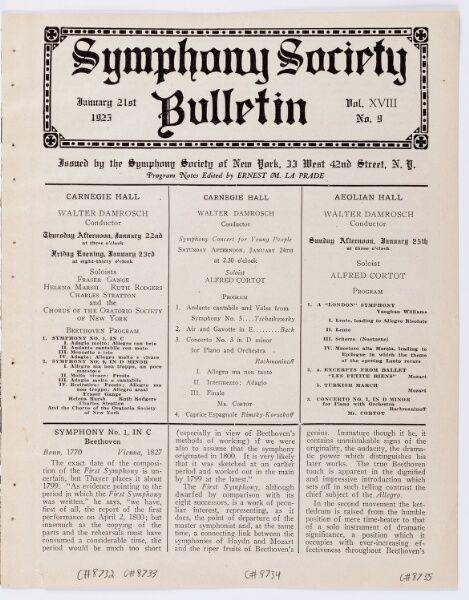1925 Jan 24 / Young People's Concert / Damrosch...
