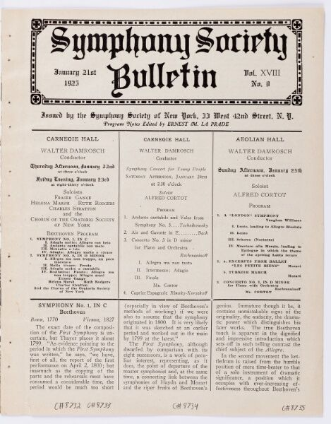 1925 Jan 24 / Young People's Concert / Damrosch...
