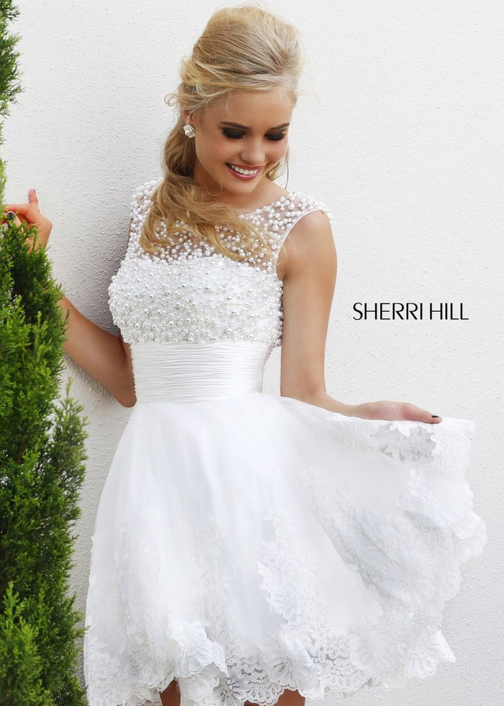 Shop New 2014 Sherri Hill Prom Dresses, find Sherri Hill 4302 white beaded cap sleeve short dress at RissyRoos.com.