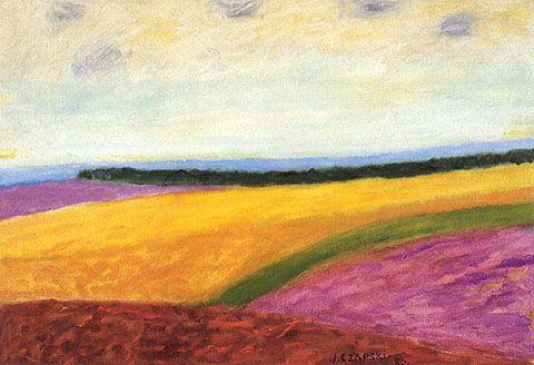 J. Czapski, Paesaggio oro-viola, 1980, olio su tela
