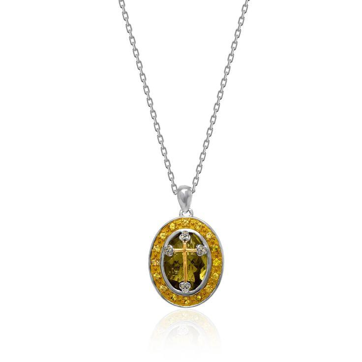 18K Yellow Gold & Sterling Silver Cross Quartz Sapphire & Diamond Oval Pendant