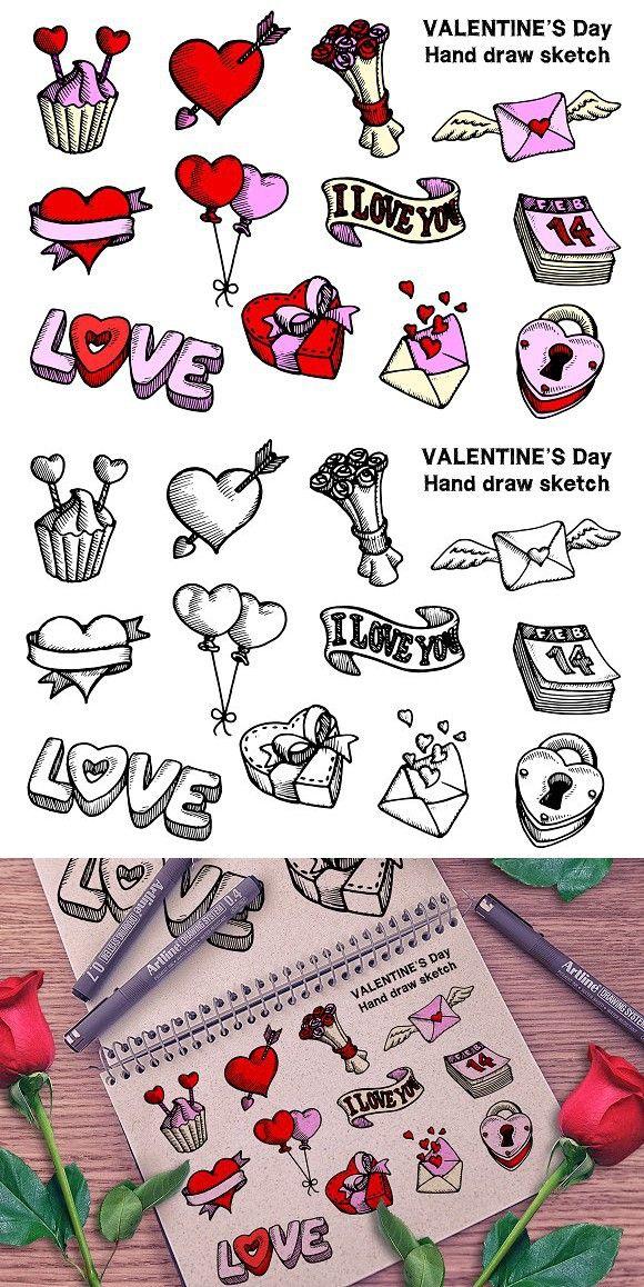Valentine S Day Hand Draw Valentines Day Design In 2019