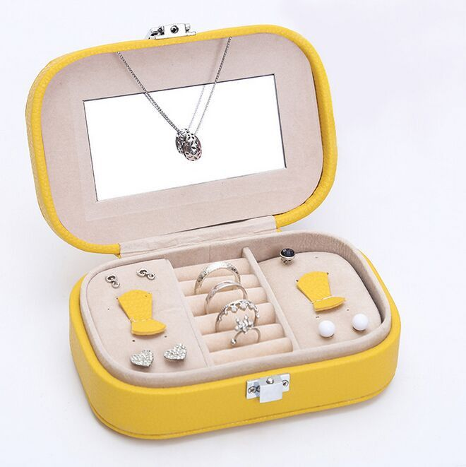 Portable Leather Travel Jewelry Earring & Ring Casket