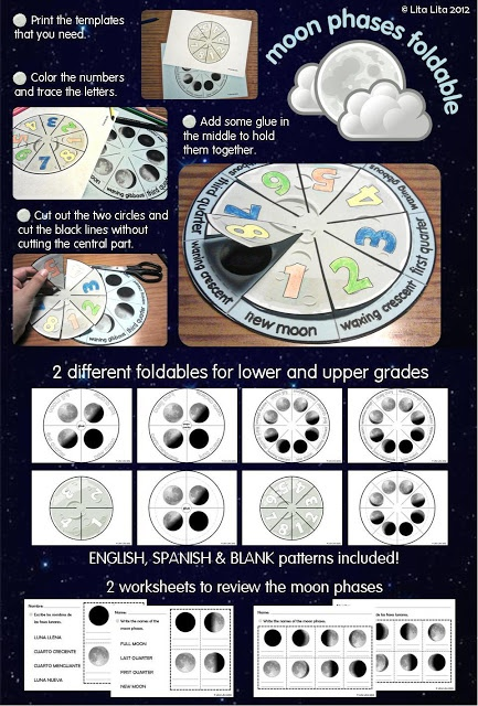 Phases of the Moon foldable...better than oreos (they get messy!)