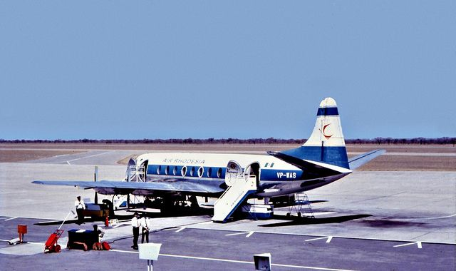 Air Rhodesia Vickers Viscount 782D  Air Rhodesia Vickers Viscount 782D at Bulawayo Airport in the early 1970's