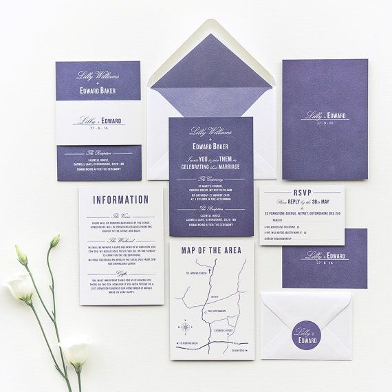 Traditional Style Wedding Invitation / Navy Blue by Paperpair