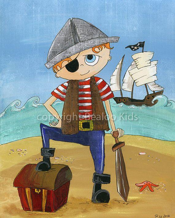 Kids Wall Art  8x10 Pirate Print Shiver Me Timbers by bealoo, $15.00