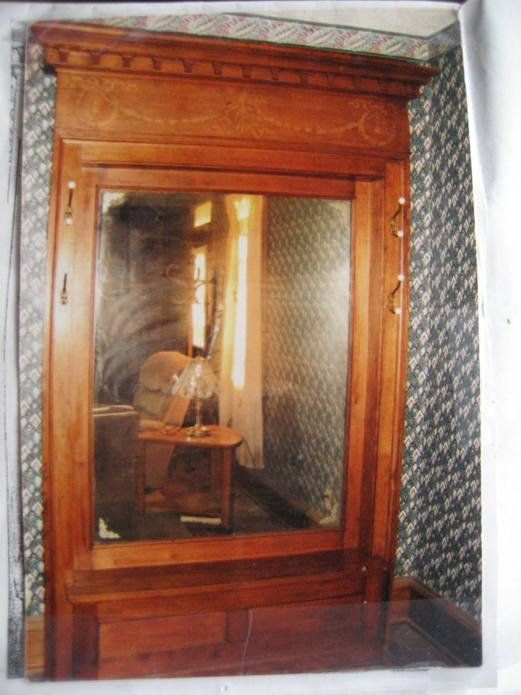 Hall Tree With Mirror Oak Circa 1870 Unit Measures 8