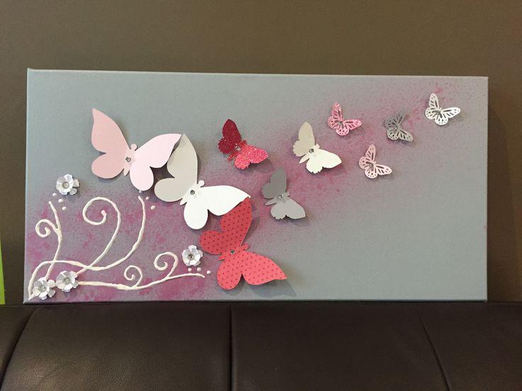 Toile Lumineuse Collection envolée de papillon : Décoration pour enfants par latelierdangel